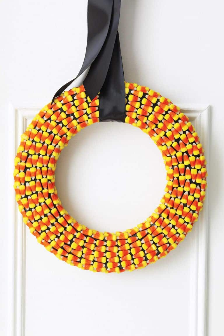 Wreath made from candy corn to adorn front door.
