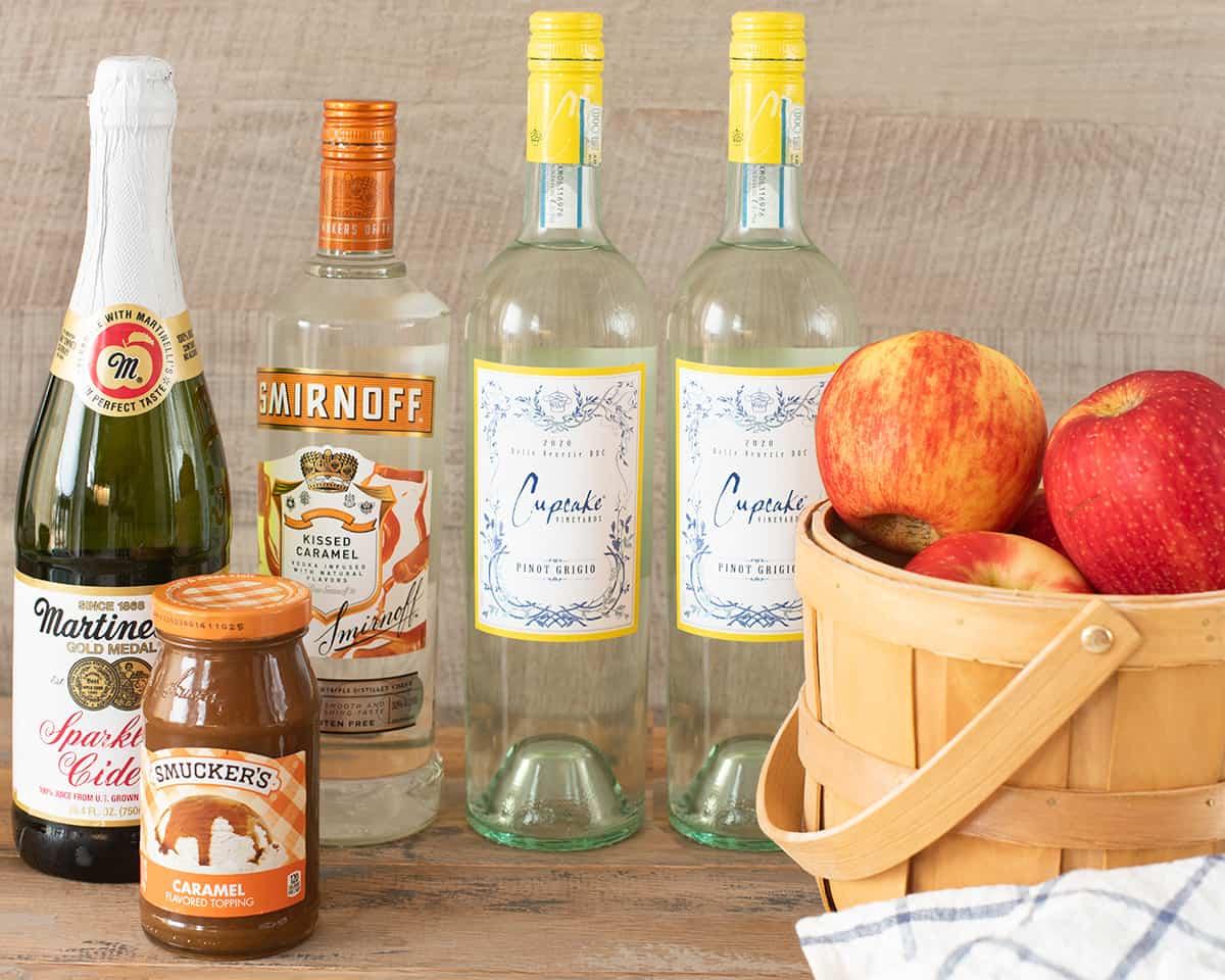 Boozy apple cider sangria ingredients.