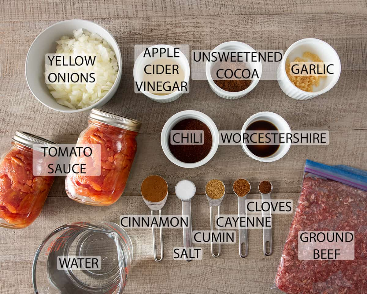 Ingredients for chili recipe with text labels.