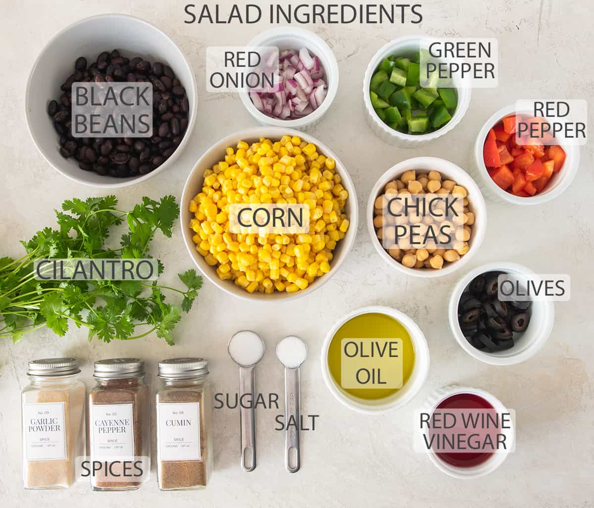 Ingredients for corn and black bean salad with text labels.
