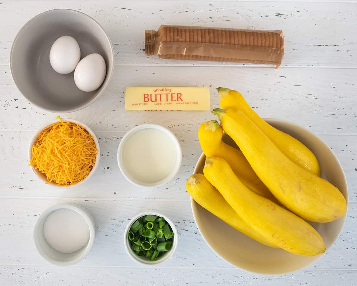 Squash casserole ingredients laid out.