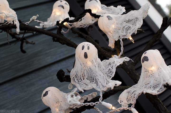 Ghost lights made from ping pong balls and cheesecloth.