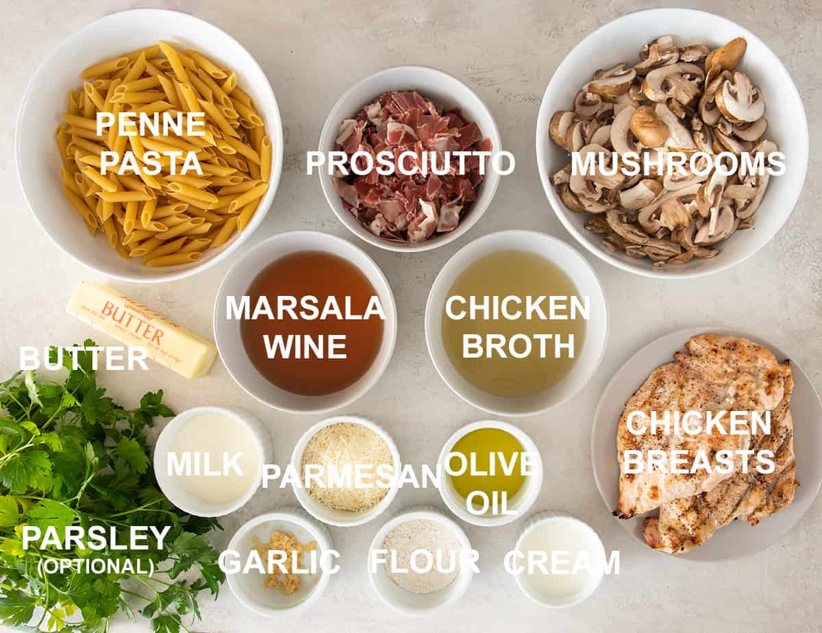 Ingredients for chicken marsala laid out on a table with text labels.