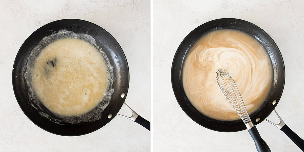 Steps to how to make marsala wine sauce with a cream base.