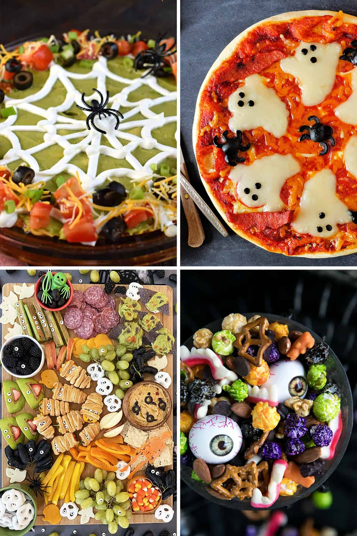 Collage of Halloween appetizers for a party including spider taco dip, a Halloween charcuterie, and colorful popcorn mix.