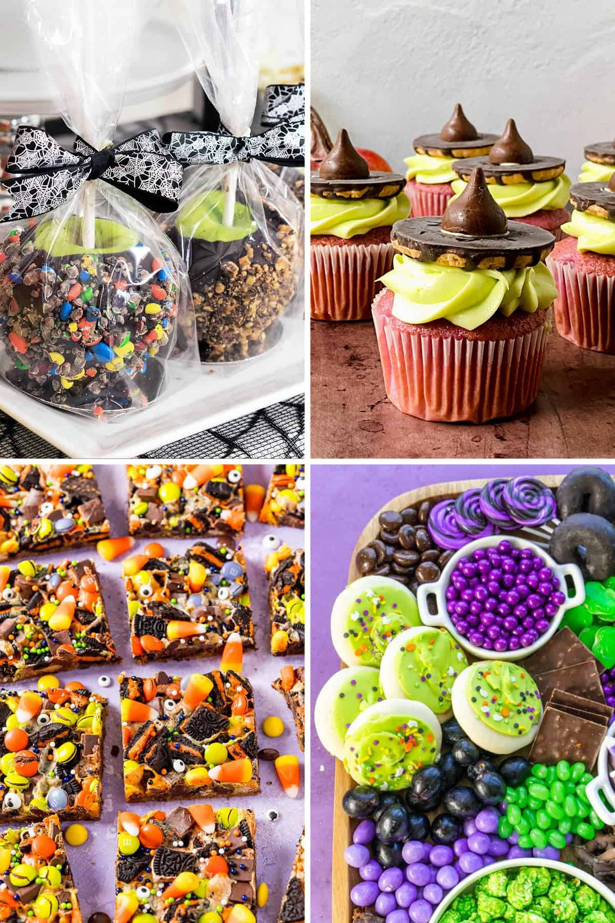 Collage of halloween party desserts including chocolate dipped apples, witch cupcakes, candy bars, and a dessert snack board.